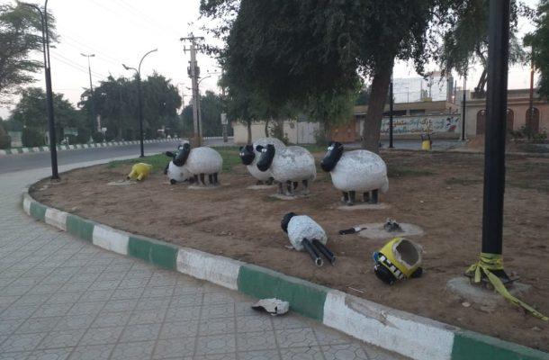 المان نوروزی شهرداری شوشتر تخریب شد